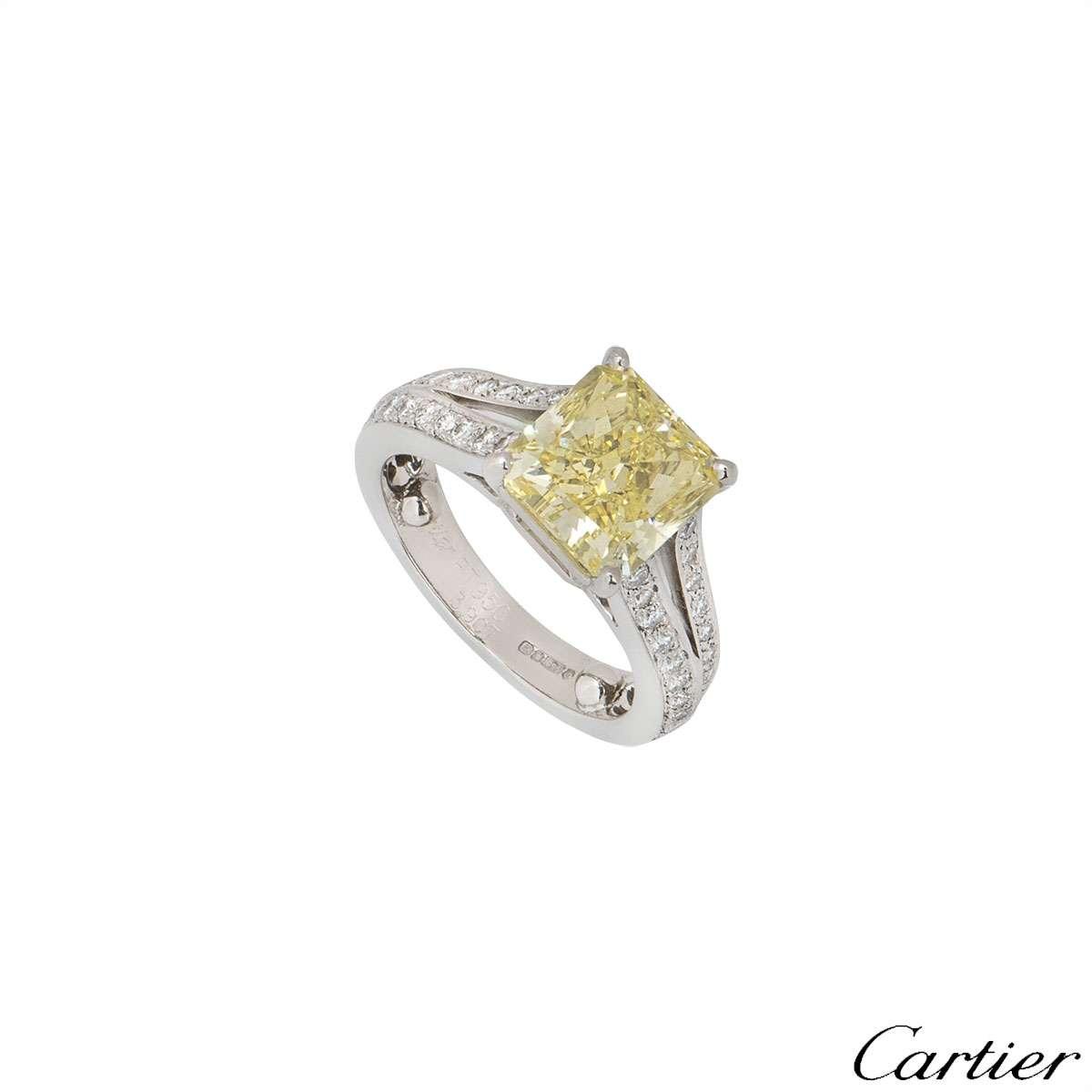 Cartier Platinum Fancy Intense Yellow Diamond Adele Ring 3.90ct VVS2
